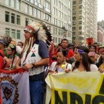 Leaders of the Pack. The leaders of the indigenous contingent, which stretched for at least two blocks and included more than 400 people. (Photo: Theresa Braine)
