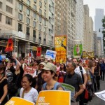 400 Strong. More than 400 marchers represented Native peoples, according to the Indigenous Environmental Network. From all over the world, they stretched along Central Park South. (Photo: Theresa Braine)